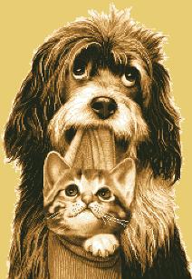 гоблен: Кученце и котенце приятели
