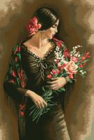 гоблен: Испанка с букет цветя