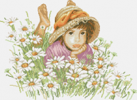 гоблен:  Момичето и маргаритите